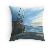 High & dry on an ebbing winter's tide Throw Pillow