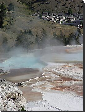 Mammoth Hot Springs and Town Below by May Lattanzio