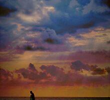 Fisherman on the Rocks by Barbara  Brown