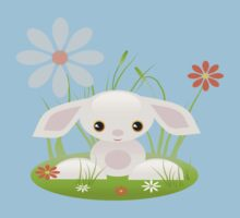 Little Pink Baby Bunny With Flowers Kids Clothes