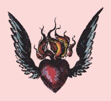 flaming heart - tshirt by Vana Shipton