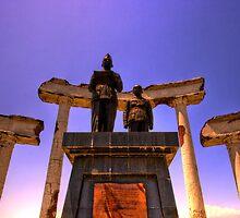 Front View of Statue of Sukarno - Hatta at Hero Memorial (Tugu Pahlawan), Surabaya, Indonesia by bartmaskphoto