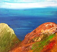 Over the Valley - Acrylic painting of an ocean view by emelisa
