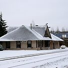 Snowy old train station by genielamb
