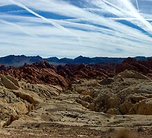 Valley of FIre - Contrails - Panorama by Stephen Beattie