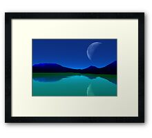 Earthlight - Blue Mountains,Green Seas. Framed Print