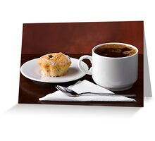 Black coffee and muffin Greeting Card