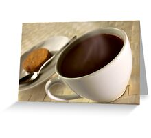 Black coffee for breakfast close up Greeting Card