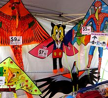 Kites for sale at a fair. by Marilyn Baldey