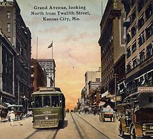 1913 KCMO View from Grand looking North from 12th Street Antique Postcard by Steve Sutton