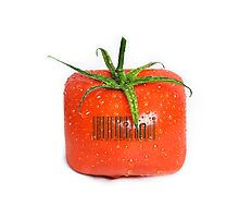 Square Tomato with a barcode. Photographic Print