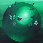 Green Butterfly Sphere by Carol Megivern