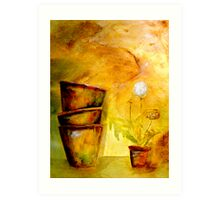 Still Life with Old Dandelion Stencil and Terracotta Pots Art Print