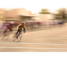 Cyclists Coming Around a Curve and into the Straightaway Photographic Print