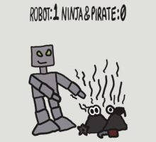 Robot vs Ninja and Pirate by Rajee