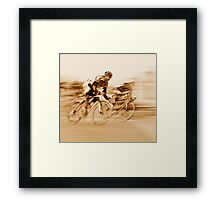 Two Cyclists Battling for the Lead - Sepia Tones Framed Print