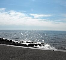 Calm sea  at Cleveleys, Lancashire. by JacquiK