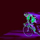 Cyclist in a Purple Haze Speeding into the Night. by Buckwhite