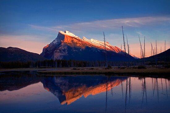 Mount Rundle Sunset, Vermillion lakes, Banff National Park, BC,  Canada by photosecosse /barbara jones