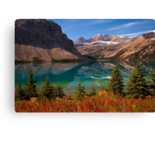 Bow Lake reflection in Fall, Icefields Parkway National Park, Alberta, Canada Canvas Print