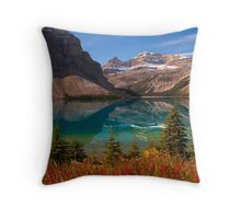 Bow Lake reflection in Fall, Icefields Parkway National Park, Alberta, Canada Throw Pillow