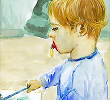 Portrait of a 2 years old boy, drawing by Franko Camue