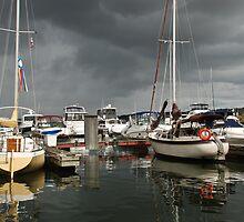 Sailboats at marina by rkuzel
