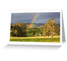 Rainbow over Orchard and Paddocks Greeting Card