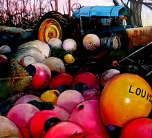 Abersoch Boatyard: Tractor and bouys by rickdickinson