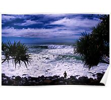 Surfer At Burleigh Headlands  Poster