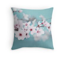 Blossoms on Blue Throw Pillow