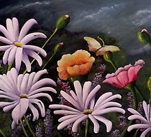 Over looking the Range  (Poppies and Dasies) by Sandra  Sengstock-Miller