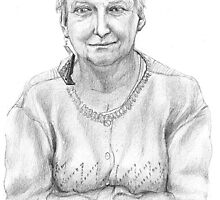 Portrait of my mother, pencil  on sketch paper, 21 x 29,7 cm, pencils: 3B and 5B,1999 by Franko Camue