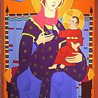 Gothic Madonna with the child being enthroned , in Pop Art Style, oil on canvas, 180 x 120 cm, 2005 by Franko Camue