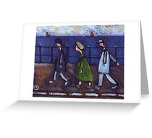 3 people and a dog on a promenade.... or the disappearing dog Greeting Card