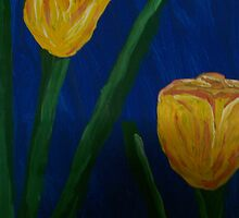 Yellow Buttercups on Blue by Alison Pearce