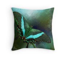 Emerald Peacock Swallowtail Throw Pillow
