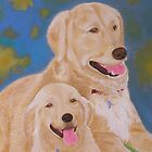 Golden Memory Portraits of Two Golden Retrievers by Thi Nguyen