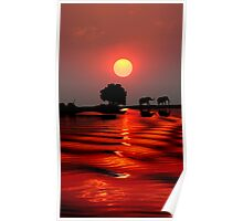 SUNSET WITH ELEPHANTS - BOTSWANA Poster