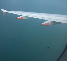Image of a ship in the ocean out of the plane. by Marilyn Baldey