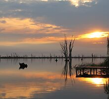 Sunrise Mirrored in Lake Mulwala by David Hunt