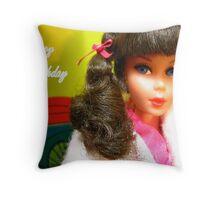 Barbie Happy Birthday Greeting Card Throw Pillow