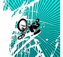 BMX Pop Art Blue Photographic Print