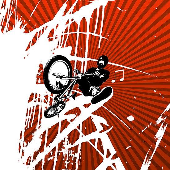 BMX Pop Art Red by JayBakkerArt