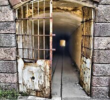 Tunnel leading to machine rooms, Bateria de Cenizas, Costa Calida, Spain  by Squealia