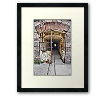 Tunnel leading to machine rooms, Bateria de Cenizas, Costa Calida, Spain  Framed Print
