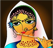 The Little Radha Rani with her flute by tandoor