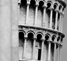Black and white tower of pisa by alixlune