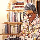 Portrait of my mother, 74 years old (sketch version), water colour on water colour paper, 35 x 30 cm, 2009 by Franko Camue