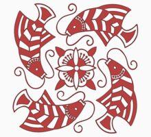 Japanese Red Koi Motif by Zehda